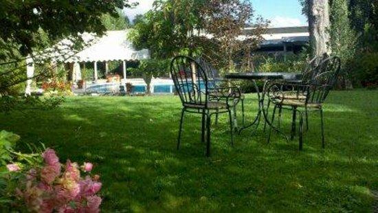 Albergo La Primula: Lawn area and pool