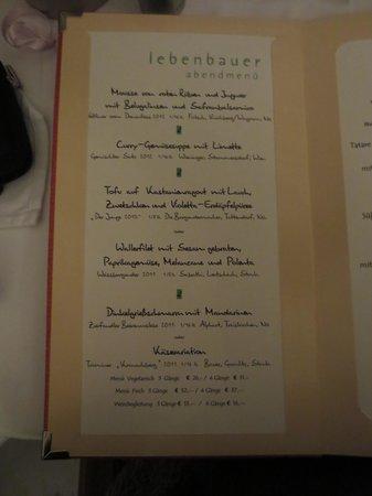 Restaurant Lebenbauer: Menükarte