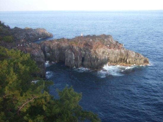 Kadowaki Bridge: 門脇埼灯台展望台からの城ヶ崎海岸の風景