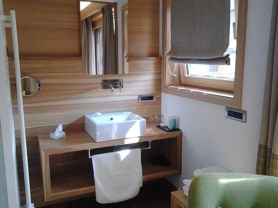 Hotel Larice : zona lavandino e doccia