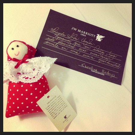 JW Marriott Hotel Lima: Mensagem deixada pela camareira na última noite de hospedagem
