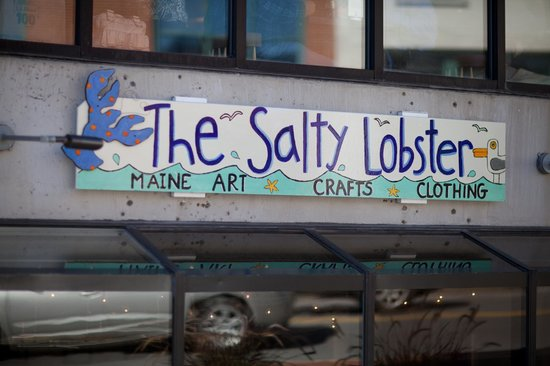 Freeport, ME: See our sign and come down the stairs fror local Maine art