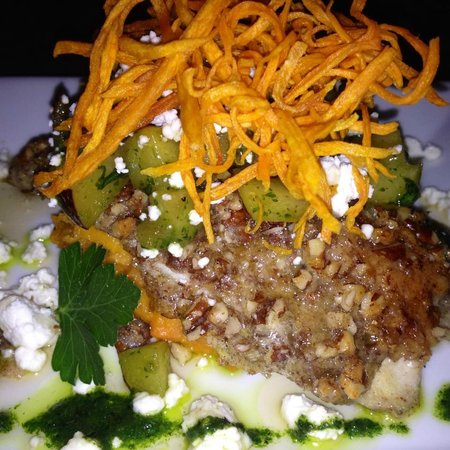 Cafe Azalea: Pecan crusted NC Rainbow Trout with goat cheese and sweet potatoes