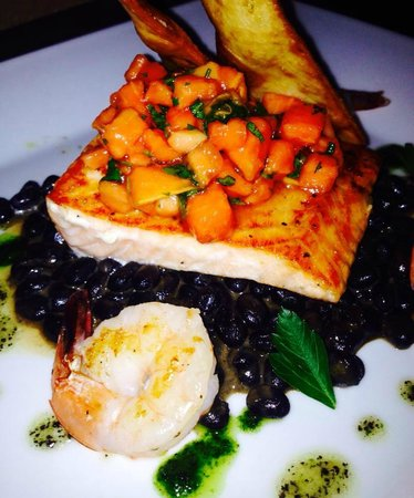 Cafe Azalea: Salmon, shrimp, black bean risotto, topped with salsa