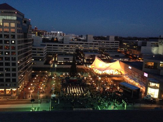 The Westin Crown Center: View from our room overlooking the tree lighting ceremony