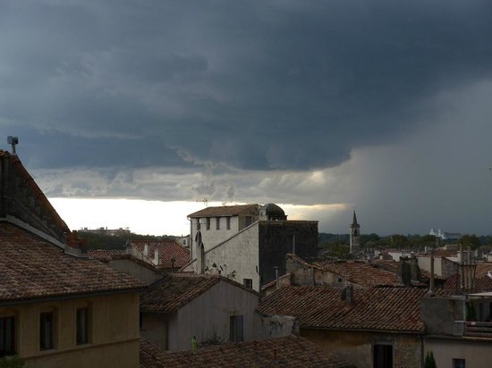 Hotel du Forum : View of the storm rolling in, from our room.