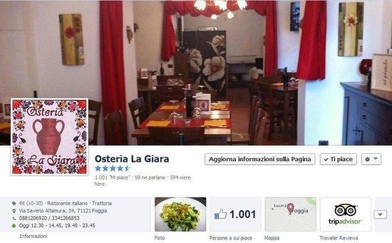 Osteria La Giara: Quota 1000 Mi Piace Su Facebook