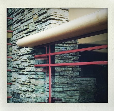 Fallingwater: Love the sharp geometry of the mullions against the rough stone.