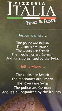 Pizzeria Italia: Menu