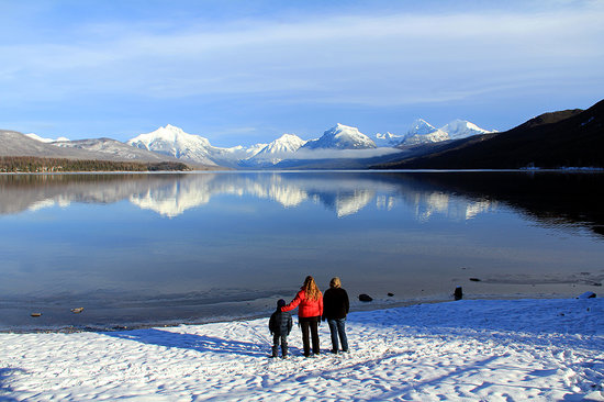 Whitefish, MT: Looking across Lake McDonald at the peaks of Glacier National Park