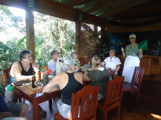 The Grill at Mombacho Lodge: Giving Cynthia our orders.