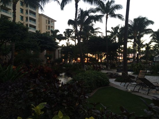 Marriott Ko Olina Beach Club: Pool with the sunset and beach in the background