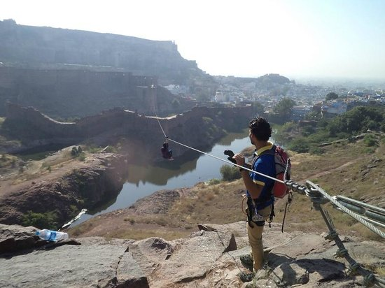 Flying Fox Jodhpur: Guides helping us go on Zipline2