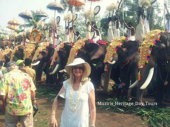 Muziris Heritage - Day Tours: Ms.Naomi participating Hindu temple festival