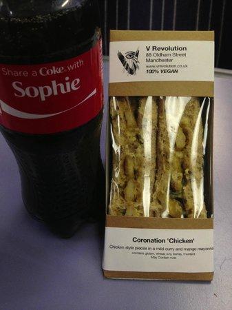 """V Rev Vegan Diner: """"Coronation Chicken"""" (the Coke is not from V Revolution)"""