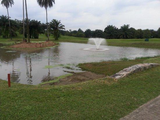 Le Meridien Ibom Hotel & Golf Resort: One of three beautiful water hazards (hazards? really??)