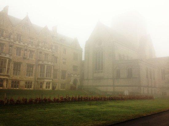 A foggy morning at Ampleforth Abbey.