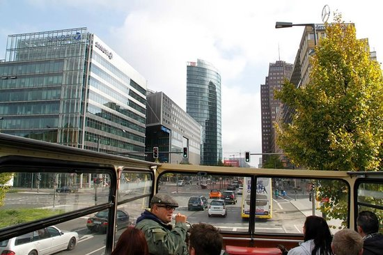 Berlin City Tour - City Sightseeing: View from the top deck! And the awesome Nigel!!