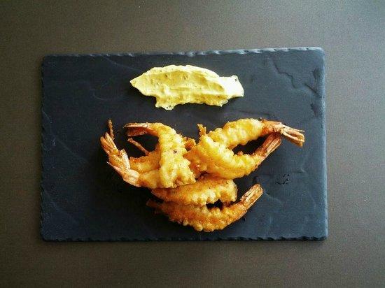 Hotel del Mar: Langostinos en tempura con mayonesa de curry