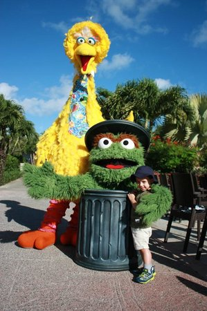 Beaches Turks and Caicos Resort Villages and Spa: Big Bird and Oscar in the French Village