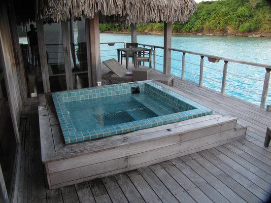 "Hilton Bora Bora Nui Resort & Spa: ""Royal"" OWB #107 deck & hot tub"