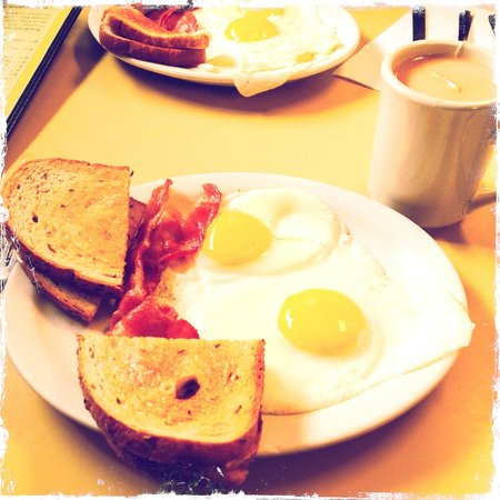 The Why Coffee Shop: Eggs and bacon and toast and tea.