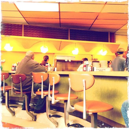 The Why Coffee Shop: View of the kitchen and the counter.