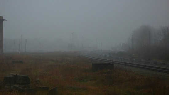 Stalag Luft III Prisoner Camp Museum: Massive junction, Zagan (Sagan) station in the background