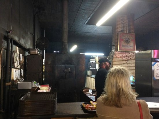 Louie Mueller Barbecue: the smoker and interior