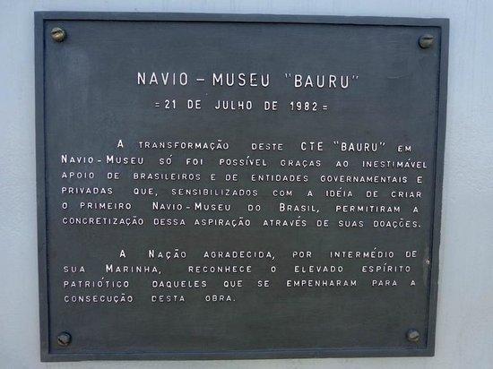 Navio Museu Bauru: placa dos anos do navio !!!