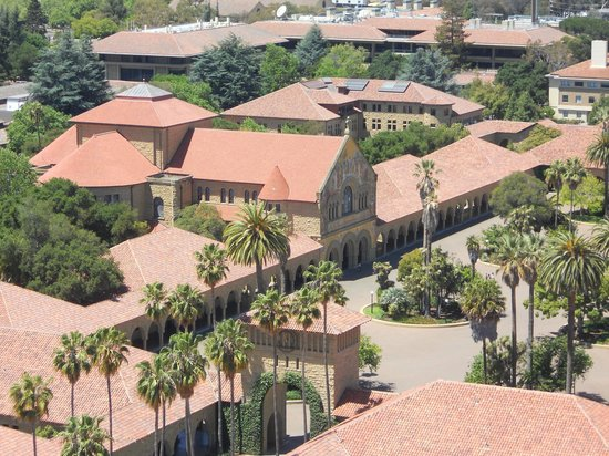 Stanford University: Memorial Church: view from Hoover Tower