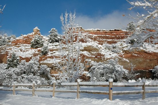 Kelly Place : The red rocks after snowfall