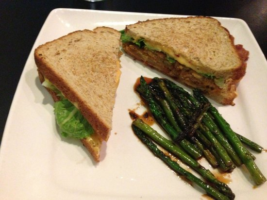 My House: Fried Green Tomato sandwich w/ pimento  cheese and a side of glazed asparagus.  Devine!  Wow!