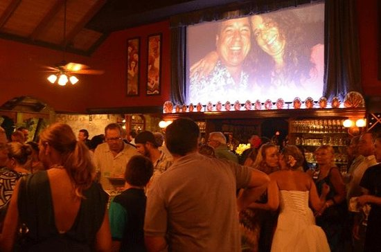 Virgin Fire Bar & Grill: Slide show on Movie Screen