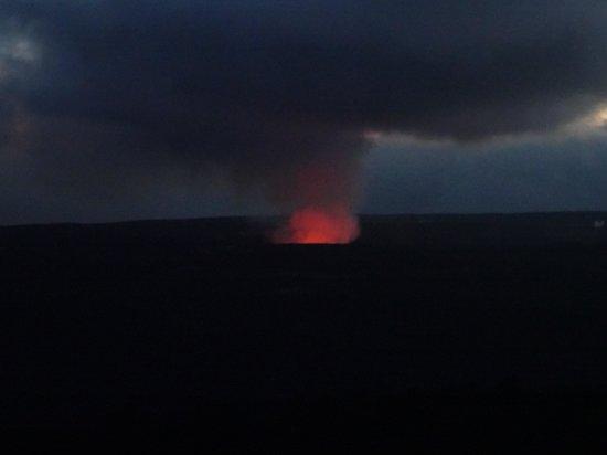 Volcano House: Halemaumau ay night from hotel.