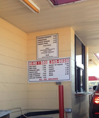 Hi-ho Barbecue: Hi-Ho Menu at the Drive Thru Window