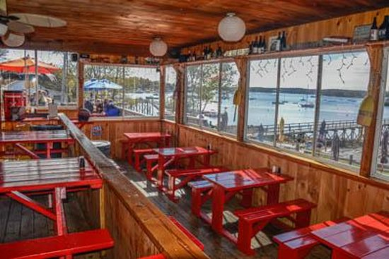 The Lobster Dock: Inside Dining Room w/ Deck Beyond