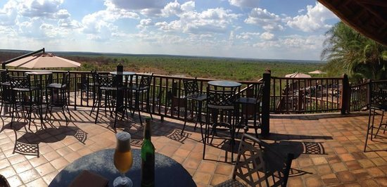 Victoria Falls Safari Lodge: View of the watering hole (and beer)