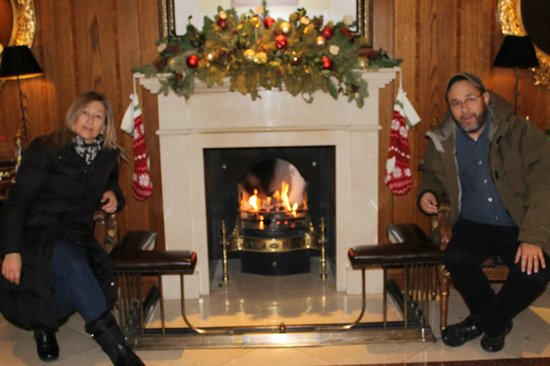 Royal Lancaster London: By the warm fireplace at reception.