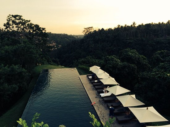 Alila Ubud: The pool at sunset