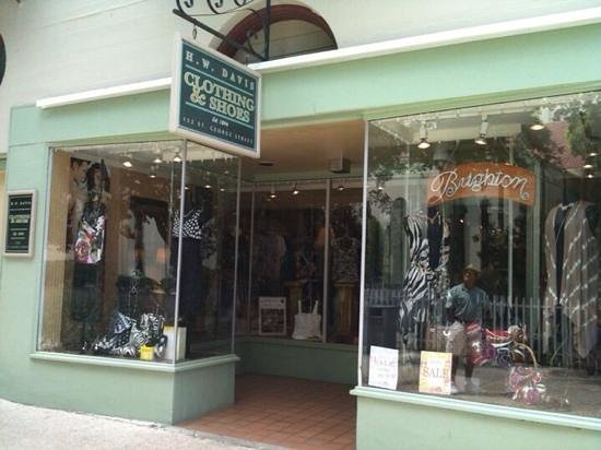 H W Davis Clothing: One of our two storefronts on Historic Saint George Street