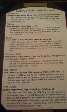 Chaz on the Plaza : Classic drink menu