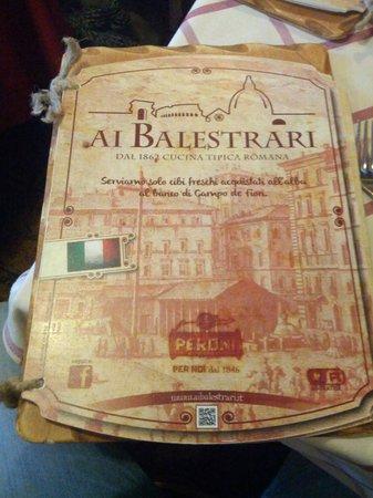 Ai Balestrari Campo de Fiori : particolare del menu