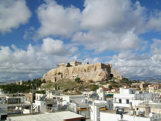 The Athens Gate Hotel: Acropolis view from hotel rooftop restaurant