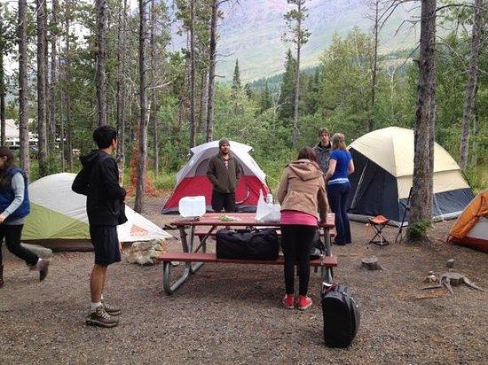 Many Glacier Campground: Setting up camp at Many Glacier.