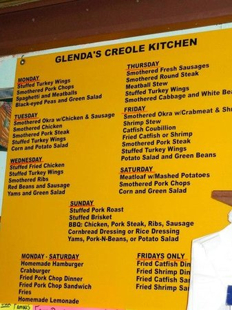 Creole Glenda's Kitchen: Menu with daily choices