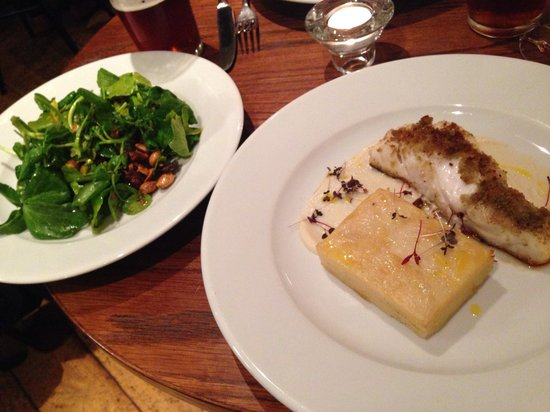 The White Star Tavern : Chestnut crusted cod with side of watercress and spiced nuts