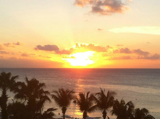 The Ritz-Carlton, Grand Cayman: sunset from ocean view room