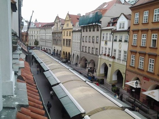 Prague Golden Age : view from hotel window shows old markets