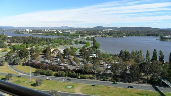 BreakFree Capital Tower Canberra: Just one of the many views from the penthouse on one side of the balcony